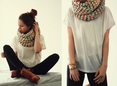 Chunky Knit Circle Scarf.