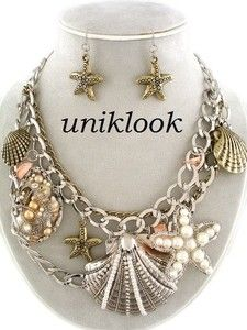 CHUNKY LOVER'S Silver Shell Starfish Ocean Theme Statement Jewelry NECKLACE set