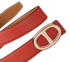 "Hermès 32 mm leather strap in blood orange/gold swift/epsom calfskin (strap width: 1.25"") & Hermès Chaîne d'Ancre buckle in rose gold plated metal (width: 1.25"") Ref. H052147CACN075 & H064554CDZ2 $815.00"