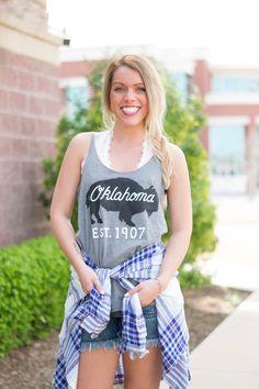 Oklahoma bison skinny strap tank top from Lush Fashion Lounge