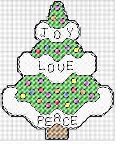 JOY LOVE PEACE CHRISTMAS TREE WALL HANGING by KATHY