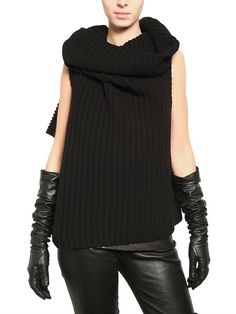 Ann Demeulemeester Ribbed Knit Wool Sleeveless Wrap Sweater in Black | Lyst