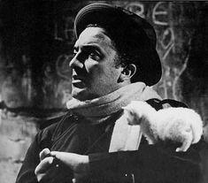 "Federico Fellini and a kitten on the set of ""La Dolce vita"" (1959)"
