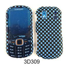 Unlimited Cellular Snap-On Case for Samsung Intensity 2 U460 (3D Embossed, Blue/Black Checkers)