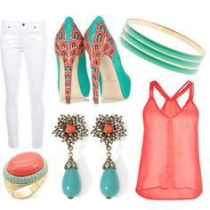 Coral  Teal  Love it!!