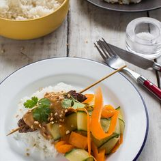 Satay Beef Skewers with Coconut Rice and Ribbon Salad