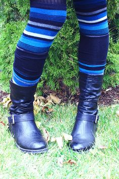 DIY leg warmers made out of old socks. Cut two pairs of socks into sections, flip inside out and sew! Eco Friendly Fashion, Diy Accessories, Diy Clothing, Animals For Kids, Step By Step Instructions, Hunter Boots, Leg Warmers, Diy Fashion, Rubber Rain Boots