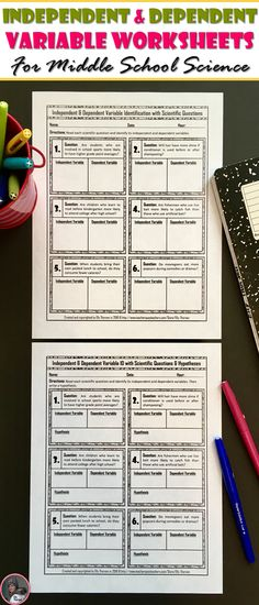 Independent and dependent variables, scientific method, scientific questions, hypothesis, worksheets, homework, middle school science, science fair