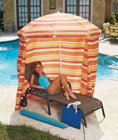 Beach Umbrella Cabana Portable Pool Privacy Tent Canopy Shelter Camping Outdoor