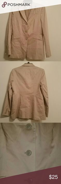 Talbots Khaki Jacket/Blazer Talbots khaki jacket/blazer, size 4. No pockets just the design cuts on the front. Fully lined. Shell is 55% Cotton, 42% Rayon, and 3% Spandex. Lining is 100% Polyester. Jacket is in great condition!! Talbots Jackets & Coats Blazers