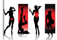 Sexy silhouettes in red — Vector EPS #accessory #pin-up • Available here → https://graphicriver.net/item/sexy-silhouettes-in-red-/2969115?ref=pxcr