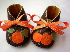 Autumn Harvest, baby girl booties with pumpkins. Toddler shoes for Thanksgiving. Ref TH03 -- $27 -- from FiestaKidsBoutique on etsy.com