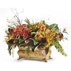 "Balsam Hill 22"" Autumn Leaves Urn Filler - Unlit - Modern - Vases - by... ❤ liked on Polyvore featuring home, home decor, modern urns, modern home accessories, mod home decor and modern home decor"