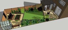Small angled, rectangular lawn with focal point plant as cnetreof diagonally organized small garden with varied spaces.