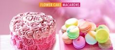 #Chocolate or #Vanilla Flower #Cake + #Macarons with Personal Message for 10 people. Starting from 49 AED. www.kobonaty.com