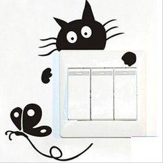 Vinilo decorativo pegatina pared, cristal, puerta (Varios colores a elegir)-gato caza mariposa: Amazon.es: Hogar