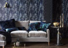 Acro-Navy Wallpaper von 17 Patterns für Warehouse Home Navy Wallpaper, Home Wallpaper, Blue Cushions, Velvet Cushions, Acro, Beach Bedding Sets, Warehouse Home, Modern Wallpaper Designs, Steel Columns