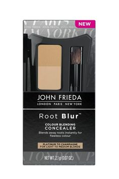 Root Cover-Up Roots can look badass but if regrowth isn't your thing you can temporarily blend the line of demarcation (where your color meets your natural hair color at the root) using a tinted pressed powder. There are a few formulas out there but we love John Frieda's because it comes with two shades. Simply brush onto roots just like you would apply eyeshadow. It won't totally cover your roots but will softly lighten regrowth and  won't budge until you shampoo.