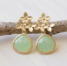Mint Teardrop and Gold Cherry Blossom Flower Post Earrings by RusticGem.