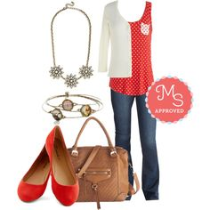 In this outfit; Anytime is Right Top, You've Got Flare Jeans, Charter School Cardigan in Ivory, Stop at the Coffee Shop Bag, Pop, Skip, and a Jump Flat in Poppy, Works Wonderland Bracelet Set, Brilliant Blossoms Necklace #backtoschool #fallseparates #polkadots