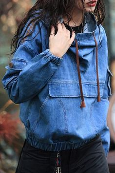 as denim blue embroidered denim hoodie here, find your sweatshirts at dezzal, huge selection and best quality. Denim Fashion, Look Fashion, Autumn Fashion, Fashion Outfits, Fashion Trends, Mode Style, Style Me, Modest Fashion, Clothes Refashion