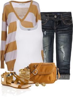 """Distressed Capris"" by mclaires on Polyvore"