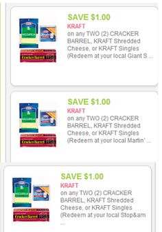3 New Kraft Cheese Coupons = $1.49 at Vons