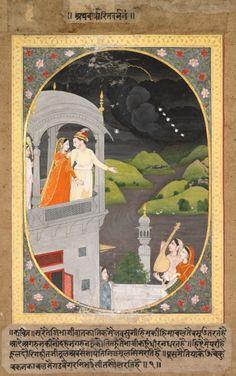 Krishna and Radha - Watching Rain Clouds: The Month of Bhadon from Baramasa series, c. 1790 India, Pahari, Kangra school, 18th century.