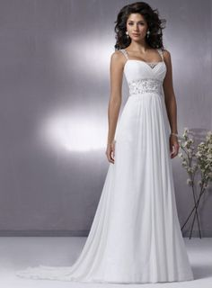 Hot-selling Princess Sweetheart Ruched Beading Spaghetti Straps Sweep Train Chiffon Wedding Dresses Under 200  WAD-616