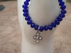 Cobalt Blue Crystal Bracelet with Silvertone by MakeMeSmileJewelry,