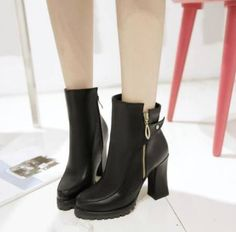 Womens Ladies Shoes Round Toe Block Heel Mid Calf Boots High Heel Shoes Good
