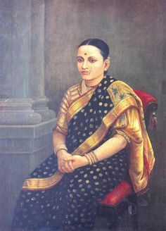 - Portrait of a Lady (oil painting on canvas) - Oil painting on canvas by Raja Ravi Varma dated 1893 - National Gallery of Modern Art, New Delhi. Ravivarma Paintings, Indian Art Paintings, Vintage Paintings, Indian Artwork, Classic Paintings, Famous Indian Artists, Raja Ravi Varma, Indian Traditional Paintings, Traditional Art