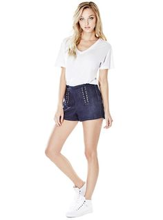 Ashlee Push-Up Laced Denim Shorts | GUESS.com