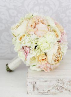 Silk Bride Bouquet Pink Peony Flowers Peonies Shabby Chic Wedding