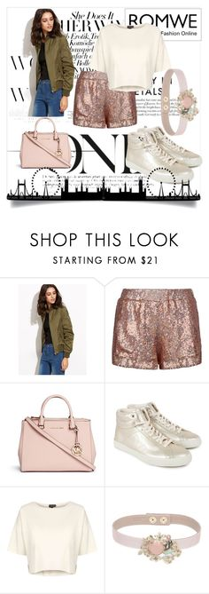 """Green and Sparkles"" by danc3r99 ❤ liked on Polyvore featuring Jaded, Michael Kors, Veja, Topshop and RED Valentino"