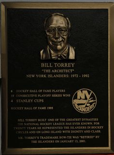 Bill Torrey's Hall of Fame plaque.