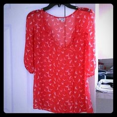 Sheer long sleeve shirt Sheer long sleeve, has birds in it. Put a bird on it! Lily White Tops Blouses