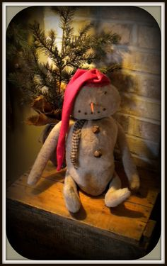 Grungy Snowman...with rusty bells & stocking hat.