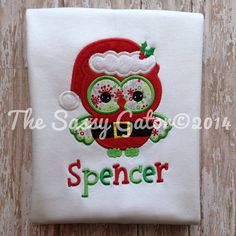 Hey, I found this really awesome Etsy listing at https://www.etsy.com/listing/210708267/santa-owl-appliquepersonalized-t-shirt