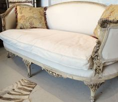 Antique french canape/day bed newly reupholstered - www.pure-provenance.com: French Country Interiors, Vintage Interiors, Modern Interiors, French Furniture, White Furniture, Cool Furniture, French Decor, French Chic, French Style