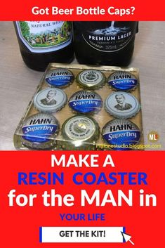Looking for a gift for that special guy in your life? Give him something handmade that he'll really appreciate - a resin coaster filled with bottle caps from his favourite beers! Or give him the kit which includes bottle caps and the resin mould so that he can make them for himself. He'll love using these DIY resin coasters and they are a great talking point when friends come round. #MillLaneStudio #diyresincoasters #bottlecapcrafts #resincraftsideasinspiration #epoxyresincrafts #resinmolds