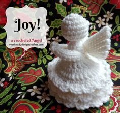This is the fourth crochet angel in this series. Joy has a more detailed dress design with three layers of ruffles. Crochet Christmas Decorations, Crochet Ornaments, Christmas Crochet Patterns, Holiday Crochet, Crochet Snowflakes, Xmas Ornaments, Holiday Decorations, Birthday Decorations, Dishcloth Knitting Patterns