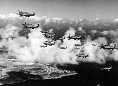 One of my favorite P-51 photos. The 15th Fighter Group, March 1945, climbing to their objective with drop tanks.