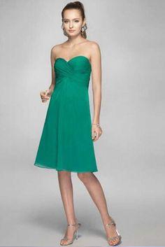 La Femme 2017 Knee Length Green Chiffon Bridesmaid Dresses with Back Corset