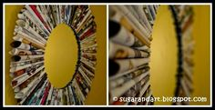 Magazine Mirror Frame Old Magazines, Paper Frames, Round Mirrors, Diy Frame, Diy Tutorial, Recycling, Cool Stuff, Hammock, Creative