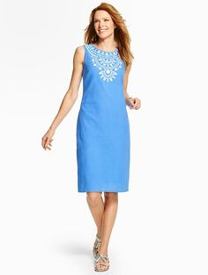 Embroidered Gauze Shift Dress - Talbots