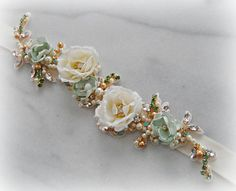 Light Sage Skinny Sash Gold and Mint Green by TheRedMagnolia