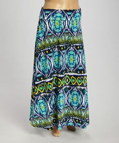 Love this Blue Abstract Maxi Skirt - Plus by Avital on #zulily! #zulilyfinds