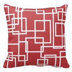 Modern Geometric Squares Red and White Throw Pillows