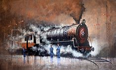 """#IndianArtists """"Kishore Pratim Biswas"""" made this amazing #acrylic painting where he painted the Nostalgia of steam locomotives. Indian Art Gallery, Indian Artwork, Indian Paintings, Buy Paintings Online, Online Painting, Train Drawing, Indian Contemporary Art, Watercolor Landscape Paintings, Steam Locomotive"""